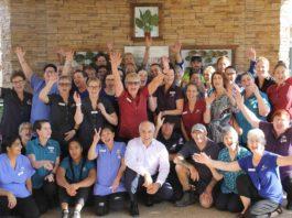 Princes Court's Mildura team celebrate their two new physiotherapists from Lebanon